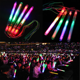 Wholesale Led Festival Decorative Lights - Multi Colorful 7 Modes LED Flashing Night Light Lamp Glow Wand Sticks + strap Birthday Christmas Party festival Camp Free Shipping