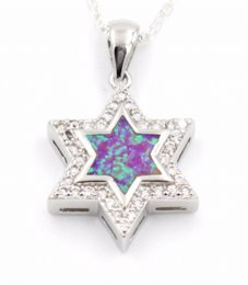 Wholesale Cheap Star Pendants - Nice Star Of David Blue Fire Opal Pendant Necklace Cheap necklace teal High Quality necklace keychain