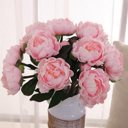 peonie di tocco reale all'ingrosso Sconti All'ingrosso - Real peonia PU fiori, decorazione della festa nuziale decorazione floreale fiori artificiali