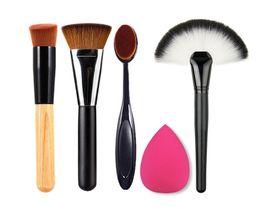 Wholesale brown puff - 5 pcs cosmetic brush set, Ashtree oblique head brush + toothbrush brush +163 Black Silver Brown Brush + fan + puff DHL free shipping