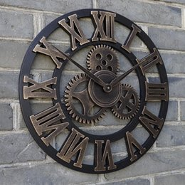 "Wholesale Oversized Art - Wholesale- 23"" oversized rustic home decorative retro vintage art luxury wall clocks large gears designed on the wall"