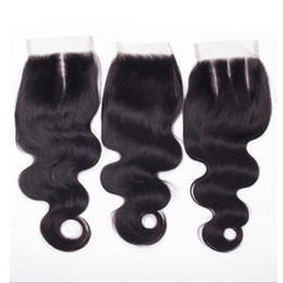 Wholesale Malaysian Big Wave Hair - Big sale! Brazilian Virgin Body Wave Human Hair Cheap 4x4 Top Lace Closures Pieces With Bleached Knots Free Middle three Part Stock