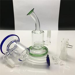 2019 due bonge di acqua spessa 6 pollici mini bong di vetro 14mm maschio tubi di vetro chiaro di vetro trasparente verde blu mini olio rig due riciclatori di vetro bong funzione due bonge di acqua spessa economici