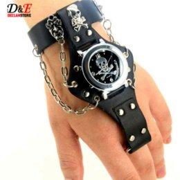 Wholesale Gothic Skull Watches - Men's Leather Punk Rock Skull Skeleton Ring Chain Gothic Quartz Wrist Watch Gift Pendant D0523 Cheap watch band