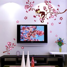 Wholesale Blossom Tree Sticker - Cute Monkey And Pink Flower Blossom Tree Wall Art Decor Decal Baby Girls Room Nursery Kids Children Bedroom Removable Wall Sticker