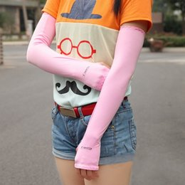 Wholesale Pink Hand Cuffs - -2 Sports Section Drove UV Sunscreen Half finger Long Gloves Cuff Outdoor Arm Sleeve Sun Hand Protection Womens Fingerless Gloves