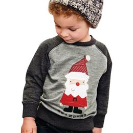 Wholesale Childrens Embroidered Clothing - 2017 Christmas Boys Girls Childrens Tops Clothing Autumn Winter Long Sleeve Santa Embroidered Pullover Fashion Kids Boutique Enfant Clothes