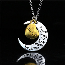 Wholesale Family Colors - 10 Colors Vintage Moon Necklace Gift Charm Family I LOVE YOU Moon Necklace I Love You To The Moon And Back Family Pendant