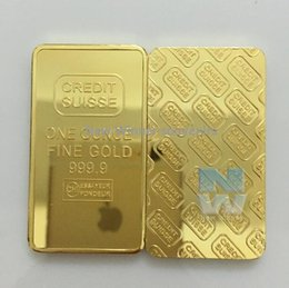 Wholesale Antiques Free Shipping - 5pcs lot Free shipping CREDIT SUISSE 1oz 24ct Gold Plated Layered Bullion Bar Ingot Replica coin+Switzerland Fake Gold Bar