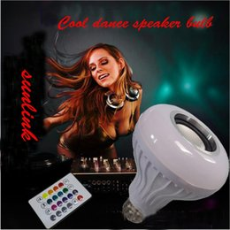 Wholesale Mini Music Center - 2017 the most popular multi colors displaying 12W E27 RGB+White music lead light bulb colorful led dance water speaker light bulb