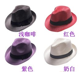 Wholesale Dome Jazz Hat - Fashion Womens Mens Unisex Fedora Trilby Gangster Cap Summer Beach Sun Straw Panama Hat woman jazz Hat