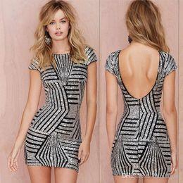 Wholesale Short Dress Fringes - Art Deco Sequin Kreuzmuster Fringe Hem Flapper-Kleid Fashion Backless Party Dresses for Women Crew Neck Minidress