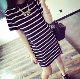 Wholesale Korean Style Striped Shirt - Middle and long style striped short sleeved T-shirt ladies loose Ladies T shirt Korean striped ladies clothes coat