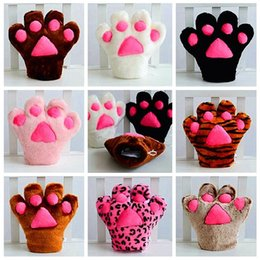 Wholesale Gloves Cat Cosplay - New Fashion cat claw gloves Cosplay Accessories Anime Costume Plush Gloves Paw Party gloves free shipping B0830