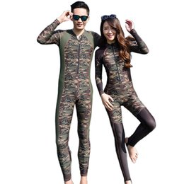Wholesale Leopard Bathing Suits For Woman - Hot Sale 2016 Fashion Lovers Camouflage Wetsuit Surfing Diving Couples swimwear Zipper One piece bathing suit for Women jumpsuit swimsuit