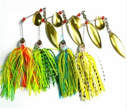 Wholesale Lure Pieces - 1 Piece 20.5g Super Luring Spinner Bait Double Reflective Golden Metal Spoon Buzzbait 3D Fish Eye Fishing Lure with Hook