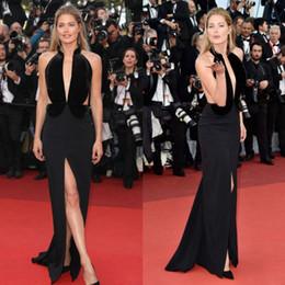Wholesale Cannes Film Festival Red Carpet - 2016 Cannes Film Festival Split Evening Dresses Deep V Neckline Sleeveless Black Prom Gowns Red Carpet Dress