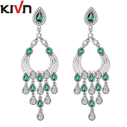 Wholesale Long Womens Earrings - KIVN Womens Fashion Jewelry Long Dangle CZ Cubic Zirconia Chandelier Bridal Wedding Earrings Mothers Birthday Christmas Gifts