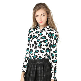 red leopard sleeve shirt Canada - 2017 Spring Women's Shirts New Wild Slim Leopard Lapel Long Sleeve Shirt Green Red Shirt Party And Working Shirt For Women