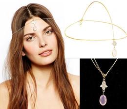 Wholesale boho headbands - Fashion Gold Head Chain Hair Jewelry Rhinestone Hand Pink Charm Forehead Hair Accesories Boho Headband Lots 10 Pcs