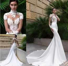 Wholesale Sexy Design Wedding Gown - 2017 New High Neck Crystal Design Sexy Mermaid Wedding Dresses See Through Back Sheer Long Sleeve Fitted Cheap Bridal Gowns with Sweep Train