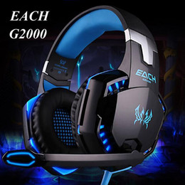 Wholesale Earphones Mic For Computer - EACH G2000 Headband Gaming Headset 3.5mm Port Stereo Headphone Earphone with Mic Display LED Light for PC Game