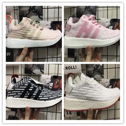 Wholesale Pink Rubber Like - 2017 New Arrival NMD R2 PK Boost Sneakers Cheap Fashion Men Women Triple Black White Red Pink Primeknit Sock Like Sport Shoes Size 36-45