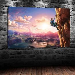 Wholesale Legend Zelda Figures - The Legend of Zelda Breath of the Wild - Climbing,Home Decor HD Printed Modern Art Painting on Canvas (Unframed Framed)