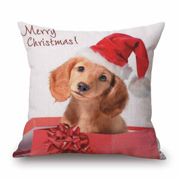 Wholesale Sausage Pillows - 10 Styles Merry Christmas Cushion Cover Dachshunds Wiener Sausage Dog Art Cushion Covers Decorative Beige Linen Pillow Case For Sofa Chair
