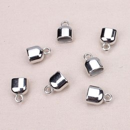 Wholesale 6mm Leather Cord Ends - 20pcs lot fitting 10*6mm leather cord rhodium CCB(not metal) end caps