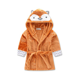 Wholesale Beach Towels Beige - 2016 Baby Flannel Bathrobe Pajamas Cartoon Fox Monkey penguin Bath Beach Blankets Towels Autumn Winter Hooded Warm Sleep Robes