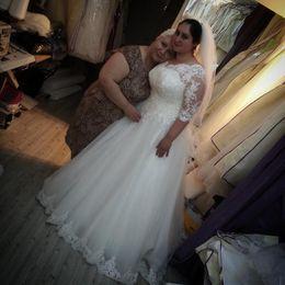Wholesale Modern Maxi Dresses - 2016 New Charming Plus Size Wedding Dresses 3 4 Long Sleeve Jewel Appliques Floor Length Maxi Bridal Gowns Vestidos De Noiva Custom Made