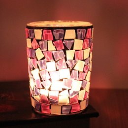Wholesale Personality Candle - Cylinder Candle Holders Glass Mosaic Crack Mini Candlestick European Style Home Personality Candler For Wedding Gift 6 4yy B R