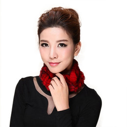 white rabbit fur scarves Coupons - Wholesale-Lovely Women Knitted Rex Rabbit Fur Neckerchief Cute Fur Round Wrap Fashion Girl Winter Scarf Warm Neck Warmer AU00233