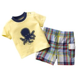 Wholesale Kid Clothing Logo - 54Sets Wholesale Children Clothes Sets 2016 Brand New Boy outfits Cotton Top Quality Embroidery Logo Kids T-Shirts Grid Shorts Pant