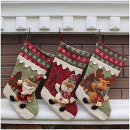 Wholesale Thick Red Wool Socks - Christmas stocking cotton Christmas gift bag stocking 3 styles stock Christmas tree decoration socks wholesale new style