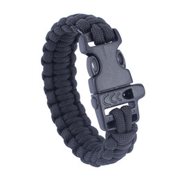 Wholesale Military Paracord Bracelet - US Military Army Utility Tactical Airsoft Hunting Camping Hiking Paracord Whistle Lifesaving Bracelet Braided Rope Wrist Band