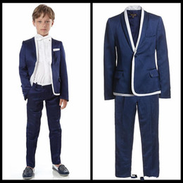 Wholesale Male Models Pieces - Children Suits for Party Occasion Customized Male Flower Suits Boy Suits Set (Jacket+Pants+ bow tie) Boys Casual Suit