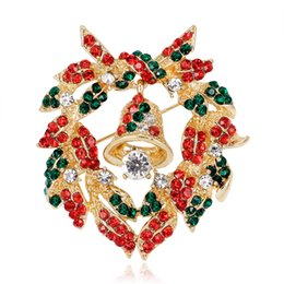 Wholesale Plastic Red Bells - Newly design woman decoration christmas gift KC gold plated alloy red colour 3pcs lot Jingling Bell Christmas bell flower coloured brooch