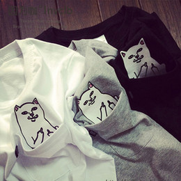 Wholesale Cat Fashion - cat in pocket t shirt 2016 spring summer sport casual rip n dip t shirt men women students love funny ripndip t shirt