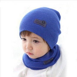 Wholesale Wholesale Wool For Suit - 6 Color Casual Hedging Crochet Child Hat Warm Letter Knitted Kids Hats For Unisex Solid Wool Baby Winter Caps + Scarf Suits