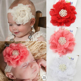 Wholesale Toddler Headbands Big Flowers - 4 Color New Europe Baby Lace Big Flower Hairband Head Bands Infant Toddler Headbands Kids Elastic Headwear Headwrap Children Hair Accessory