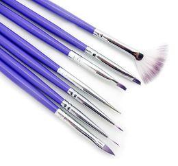 Wholesale Nail Art Kits Professionals - 7pcs Nail Art Design Pen Painting Dotting Acrylic Nail Brush Kit Professional Nail Polish Brush Set White and Purple Color