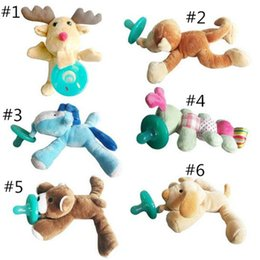 Wholesale Giraffe Plush Toys - 6 Style silicone animal pacifier with plush toy baby giraffe elephant nipple kids newborn toddler kids Products include pacifiers A08