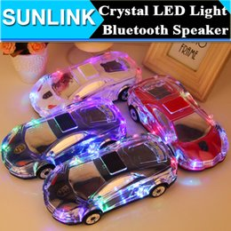 Wholesale Mp3 Player Car Shaped - Colorful Crystal LED Light MLL-63 Mini Car Shape Portable Bluetooth Wieless Speaker Amplifier Loudspeaker Support TF FM MP3 Music Player