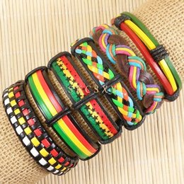 Wholesale Mens Braided Rope Bracelets - High quality Handmade Mens and Women Bracelets Wrap Multilayer Genuine Leather Bracelet with Braided Rope Fashion Jewelry -TE138