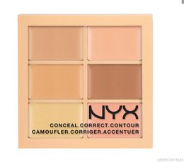 Wholesale Cheap Skin Creams - 6 Colors NYX Concealer Makeup Conceal Correct Contour Palette Brand Face Beauty Cosmetic Cheap Price On Sale Free Shipping