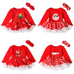 Wholesale Dotting Fedex - Christmas Baby clothing Romper dress Tutu My 1st Christmas Infants Letters Dots dress With bow headband 2017 Fedex shipping