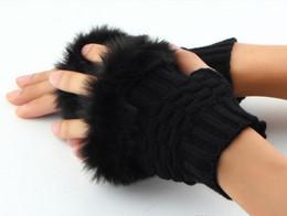 Wholesale Rabbit Fur Gloves Wholesale - 2017 Winter New Fashion Soft Women Warm Faux Fur Gloves Female Rabbit Hair Knitted Thicken Fingerless Mittens Classic Short Keyboard gloves