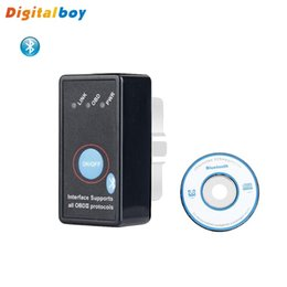 Wholesale Odb2 Elm327 - Wholesale-Power Switch ODB2 II Mini ELM327 Car Auto Bluetooth Diagnostic Scanner 2016 Brand Digitalboy New Arrival High Quality OBD Tools